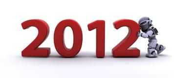 Robô que traz o ano novo dentro Foto de Stock Royalty Free