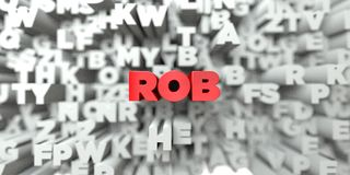 ROB -  Red text on typography background - 3D rendered royalty free stock image. This image can be used for an online website banner ad or a print postcard Stock Photography