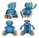 Robôs azuis que fazem coisas diferentes ilustração royalty free
