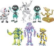 Robôs dos desenhos animados ajustados ilustração royalty free