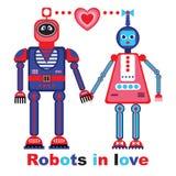 Robôs na ilustração do vetor do amor Foto de Stock