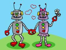 Robôs no amor Imagens de Stock Royalty Free