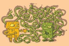 Robôs no jogo do labirinto do amor Foto de Stock Royalty Free