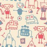 Robôs sem emenda do doodle Imagens de Stock