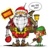 Robô Santa e duende com controlo a distância Isolado Fotografia de Stock