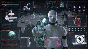 Robô, serviço médico dos cuidados médicos do mundo tocante do cyborg no mundo, diagnóstico remoto e tratamento, telemedicina no d