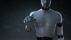 Robô, tela tocante do cyborg, inteligência artificial, informática, ciência do humanoid 2 ilustração do vetor