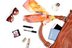 Roba della borsa della donna isolata su bianco Fotografia Stock Libera da Diritti