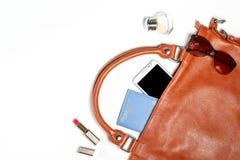 Roba della borsa della donna isolata su bianco con spazio per testo Fotografia Stock Libera da Diritti