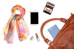 Roba della borsa della donna isolata su fondo bianco Fotografie Stock Libere da Diritti