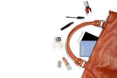 Roba della borsa della donna isolata su fondo bianco Fotografie Stock