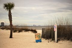 Roba della spiaggia in Gulfport Mississippi Fotografie Stock Libere da Diritti