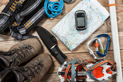 Roba di alpinismo e di escursione Immagini Stock Libere da Diritti