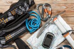 Roba di alpinismo e di escursione Fotografia Stock