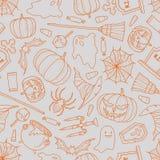 Roba di Halloween casuale su fondo grigio Fotografia Stock