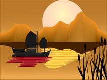 Roba di rifiuto orientale con la priorità bassa di tramonto Immagine Stock