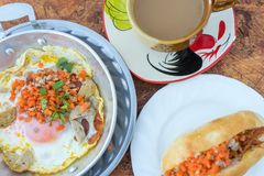 Roba fritta calda dell'uovo con carne di maiale e la salsiccia tritate Fotografia Stock