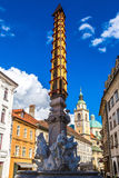 Robba Fountain and St. Nicholas Cathedral in Ljubljana Royalty Free Stock Photo