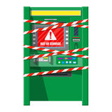 Robbed atm with warning ribbons Stock Image