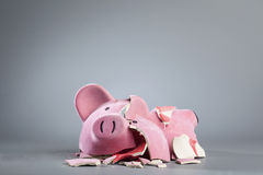 Robbed piggy bank. Pink broken piggy bank on grey background Royalty Free Stock Photo