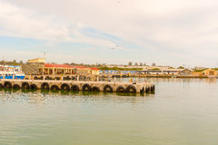 Robben Island dock, as seen from ferry boat, Cape Town, South Af Stock Photos