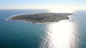 Robben Island, South Africa. Photo was taken in 2013, aerial view of Robben Island shortly before sunset