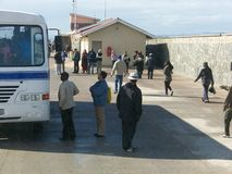 Robben Island. Visitors departing and arriving from Robben Island Royalty Free Stock Image