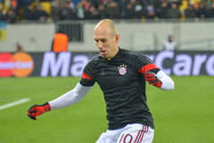 Robben before the match FC Shakhtar-FC Bayern. UEFA Champions League. Match between FC Shakhtar Donetsk vs FC Bayern München. UEFA Champions League. Round of royalty free stock photo