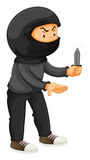 Robber in black holding a knife Stock Photos