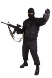 Robber in black uniform and mask with m4 rifle Stock Photos