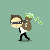 Robber. This business is a robber that he steal a lot of money and carry  on the back Stock Images