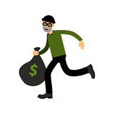 Robber character running with big money bag  Illustration Stock Photo
