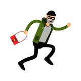 Robber character running with red female bag  Illustration Royalty Free Stock Images