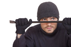 Robber with crowbar Royalty Free Stock Image