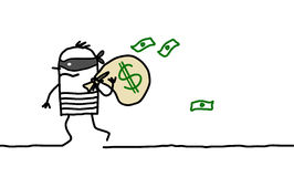 Robber and dollar pack. Vector hand drawn cartoon characters Royalty Free Stock Images
