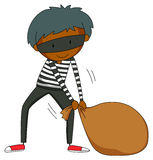 Robber dragging brown bag Royalty Free Stock Image