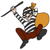 Robber Escaping. An image of a robber escaping with a bag of stolen goods Royalty Free Stock Photos