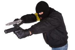 Robber with handgun Stock Photography
