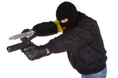 Robber with handgun Stock Photography