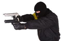 Robber with handgun Royalty Free Stock Photo