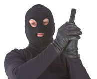 Robber with his gun isolated Royalty Free Stock Photography
