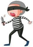 Robber holding sharp knife Stock Photo