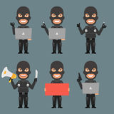 Robber Holds Notebook Poster Megaphone Stock Photos