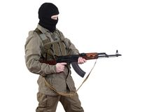 Robber with kalashnikov isolated Stock Photo