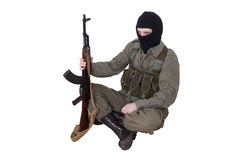 Robber with kalashnikov isolated Royalty Free Stock Image