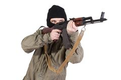 Robber with kalashnikov isolated Stock Images