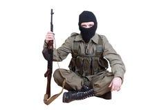 Robber with kalashnikov isolated Stock Photo
