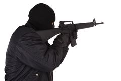 Robber with M16 rifle Stock Photo