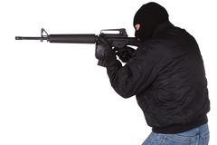 Robber with M16 rifle Stock Image