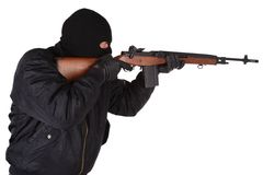 Robber with M14 rifle Stock Photography